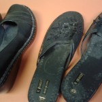 Left to dance another day, well worn shoes on giveway table in apt bldg