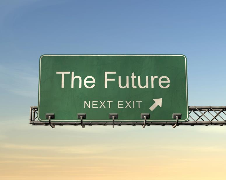 Giant highway sign saying THE FUTURE and an exit arrow